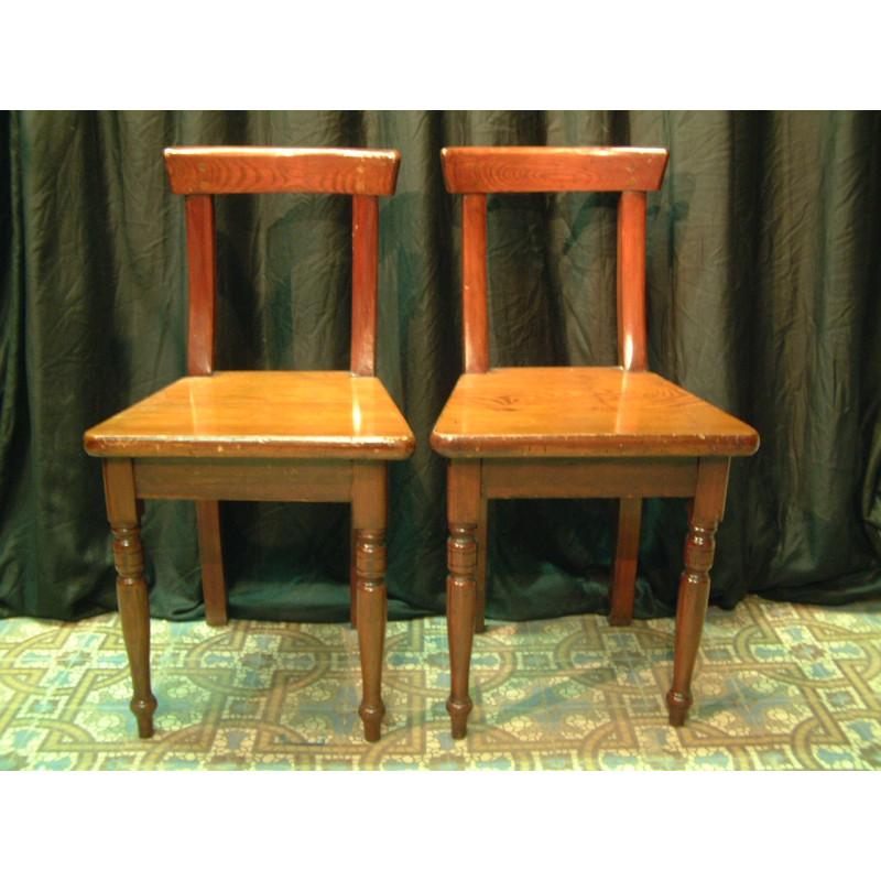 Pair small church chairs