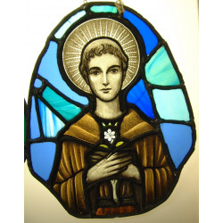 "Stained glass panel of saint aprox 30"" high"