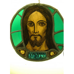 """Stained glass head of christ approx 14 """""""