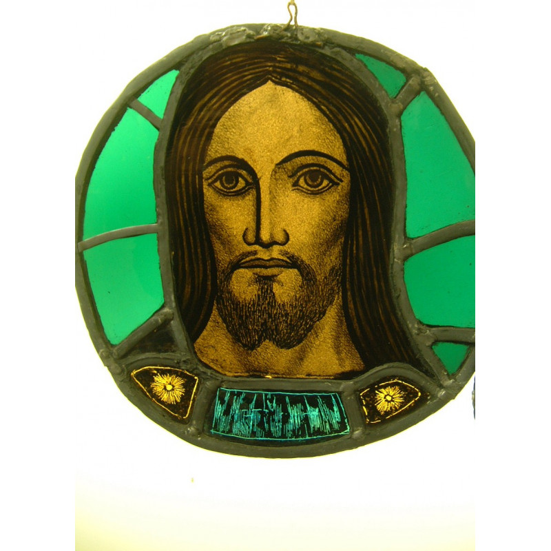 Stained glass head of christ approx 14 ""