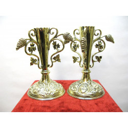 A pair of church brass vases