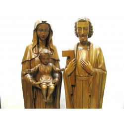 Wooden holy family statues