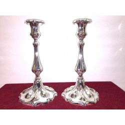 Pair of silver art nouveau candlesticks