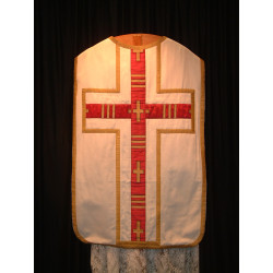 White chasuble and red cross