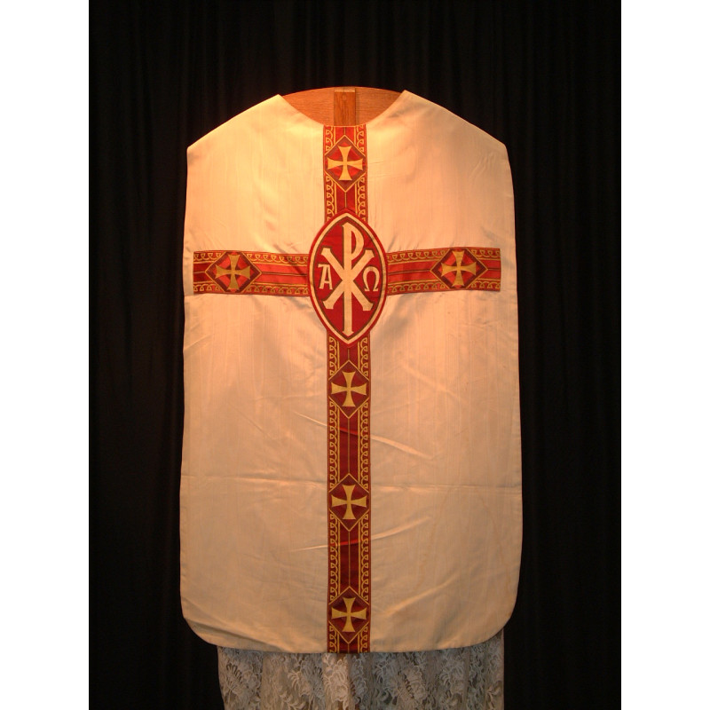 White chasubla red cross