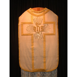 White Chasuble with wide gold brading