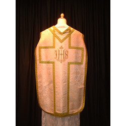 White demask chasuble with green braiding