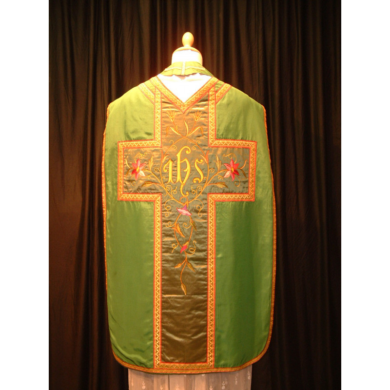 Fantastic green chasuble depicting flowers and IHS
