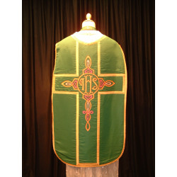 Green chasuble and stole celtic design