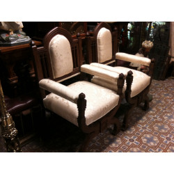 Pair of Gothic upholsterer chairs