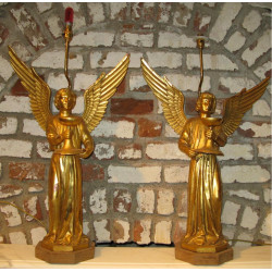 A pair of gilded bronze angles